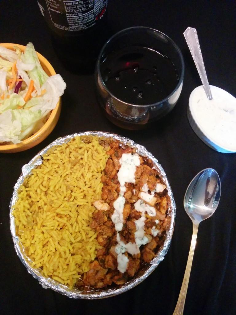 Manhattan cart style chicken over rice