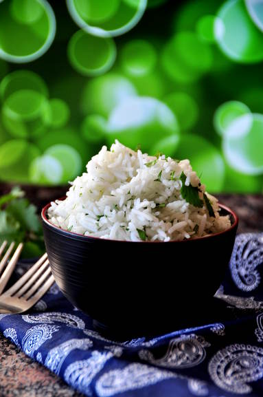 Basmati rice flavored with cilantro and lime